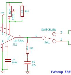 1wamp lm386 power amplifier circuit [ 3575 x 1312 Pixel ]