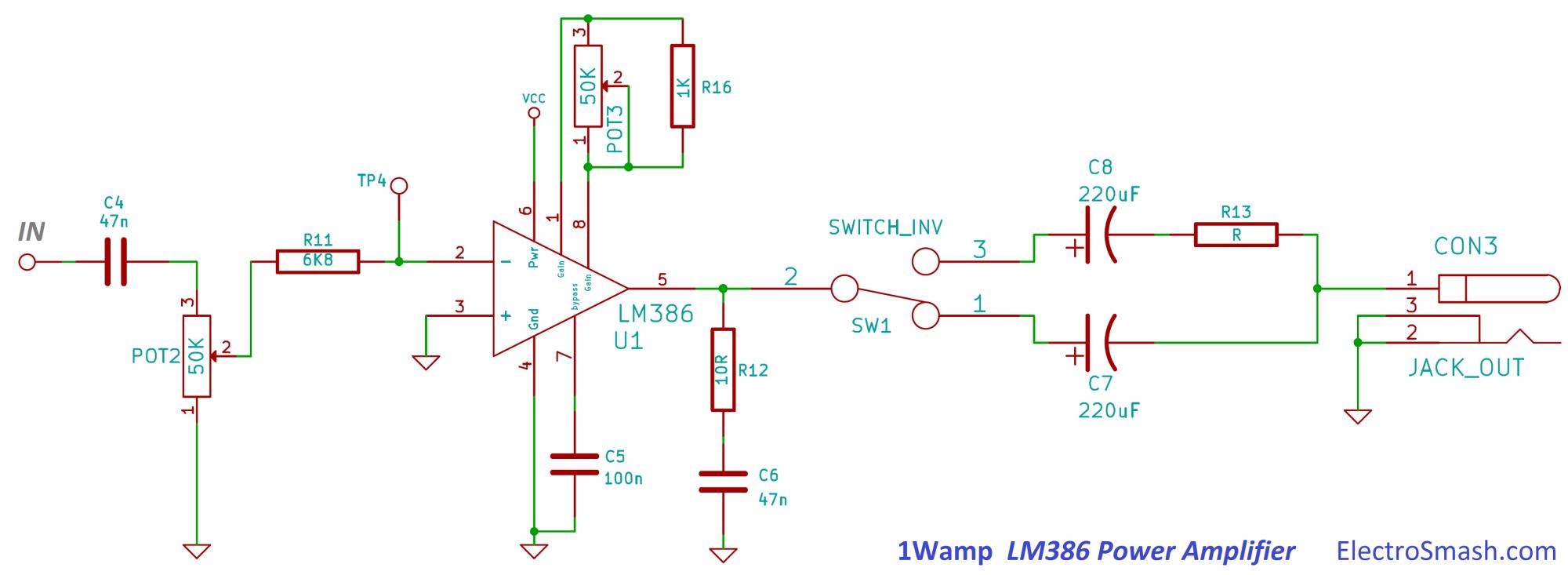 hight resolution of 1wamp lm386 power amplifier circuit
