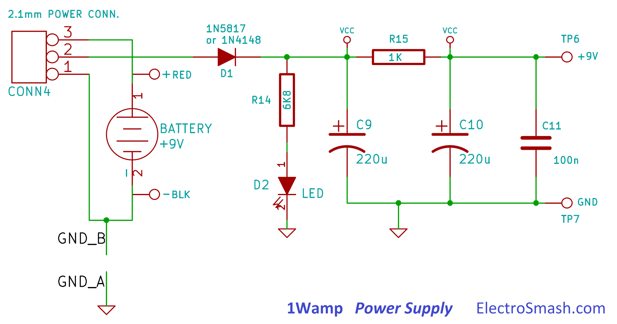 9v battery diagram gems pressure sensor wiring electrosmash 1wamp electroc guitar amplifier