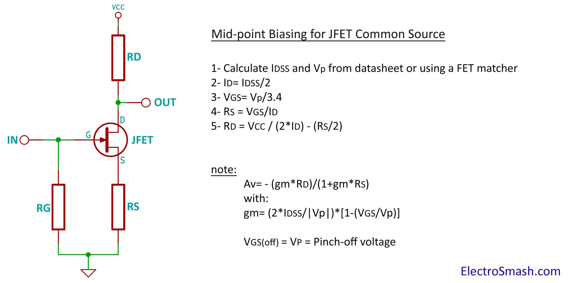 hight resolution of jfet amplifier calculation parameters