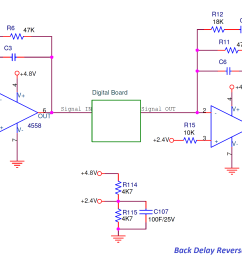 back talk reverse delay analog board circuit [ 3334 x 1401 Pixel ]