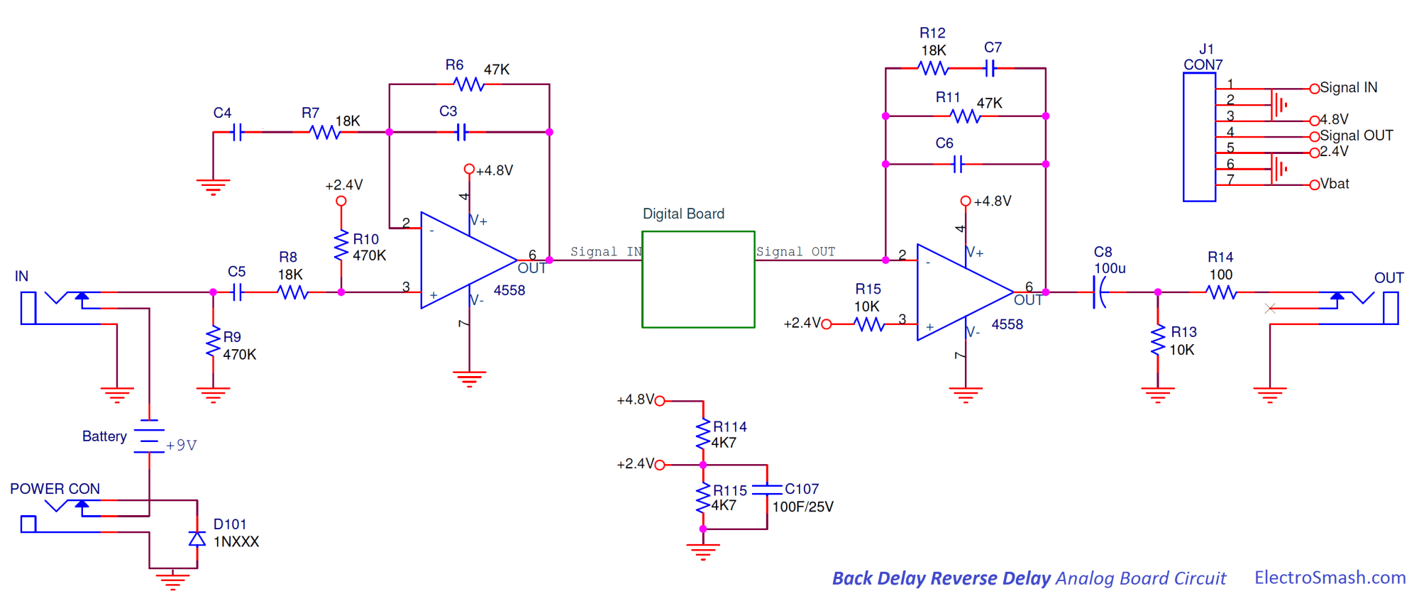 hight resolution of back talk reverse delay analog board circuit