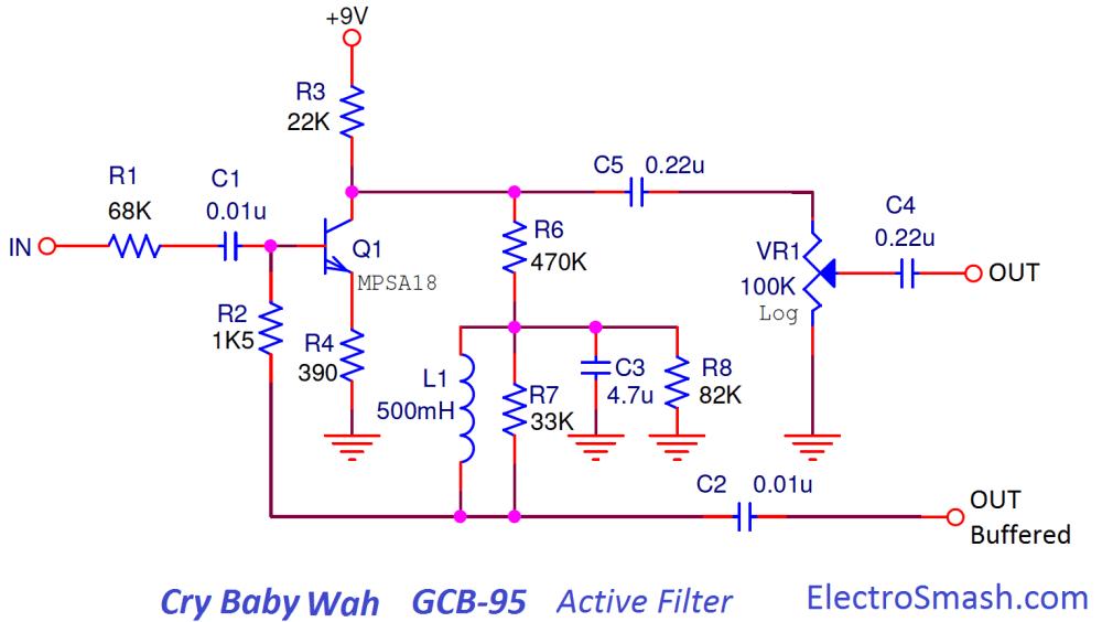 medium resolution of cry baby wah gcb 95 active filter
