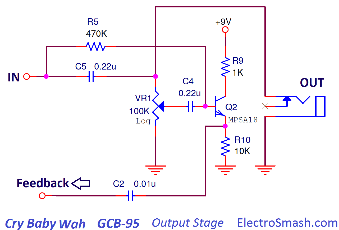 hight resolution of cry baby wah gcb 95 output stage