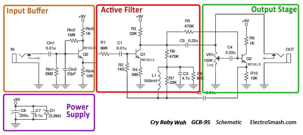 medium resolution of  cry baby wah gcb 95 schematic parts small