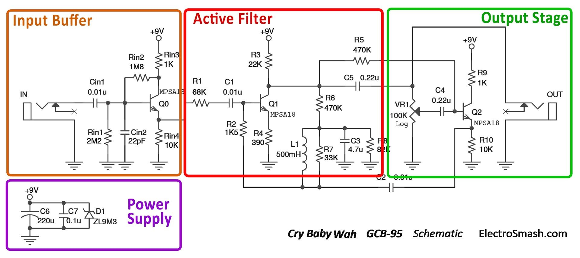 hight resolution of  cry baby wah gcb 95 schematic parts small