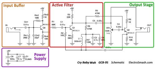 small resolution of  cry baby wah gcb 95 schematic parts small