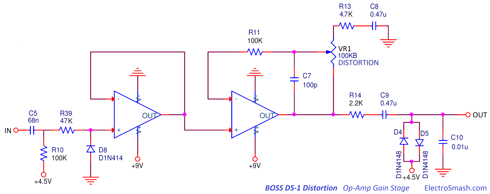 hight resolution of  boss ds1 distortion op amp gain stage