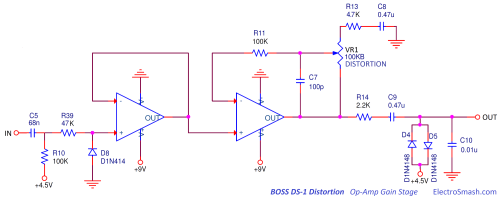 small resolution of  boss ds1 distortion op amp gain stage