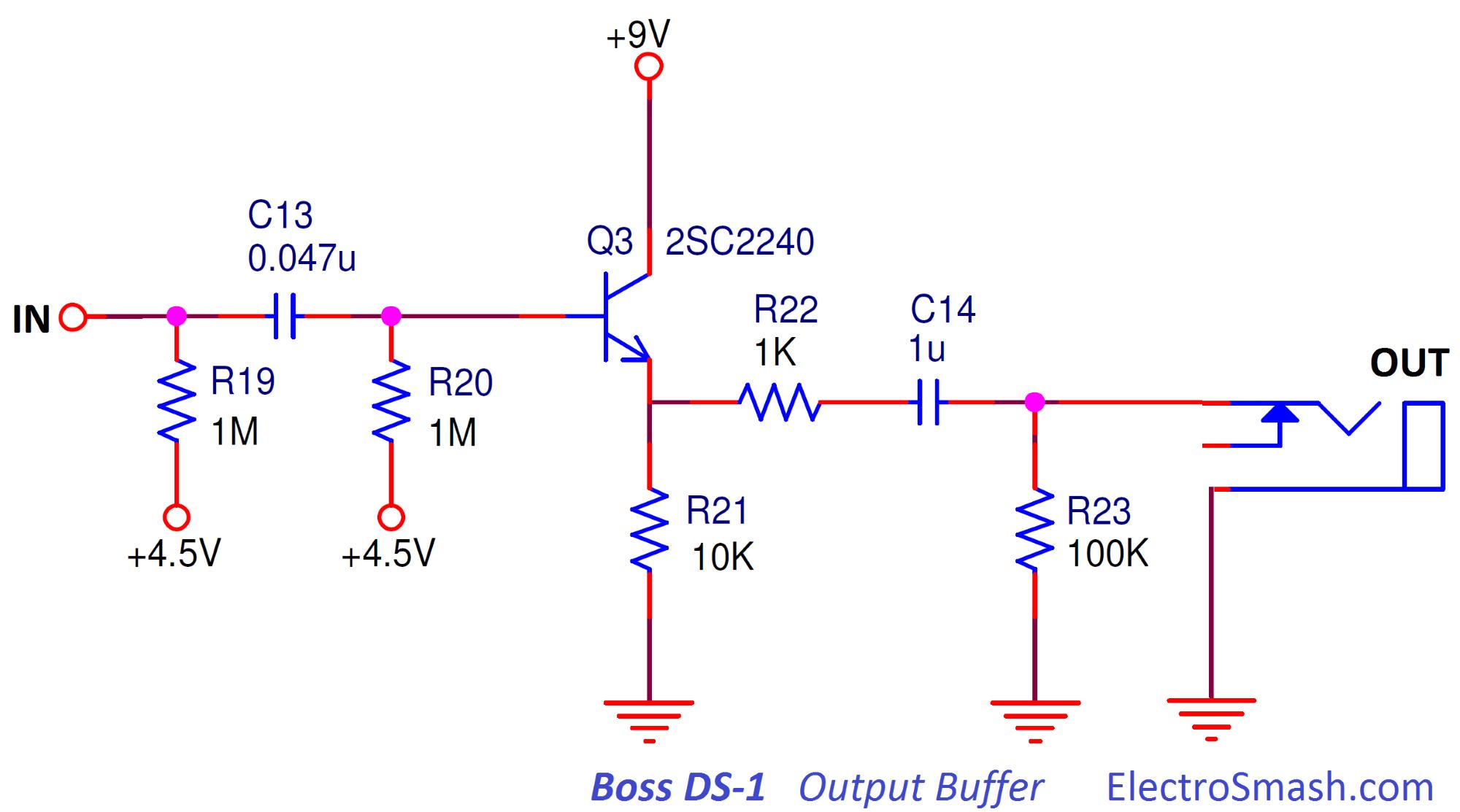 hight resolution of boss ds1 distortion output buffer