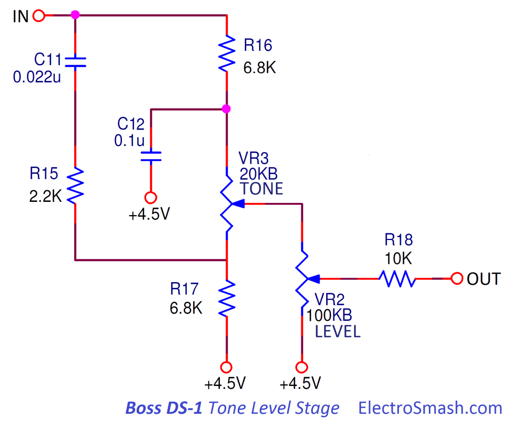 medium resolution of boss ds1 distortion tone level stage