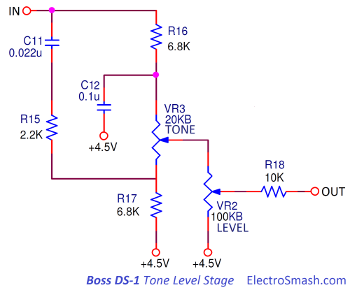 small resolution of boss ds1 distortion tone level stage