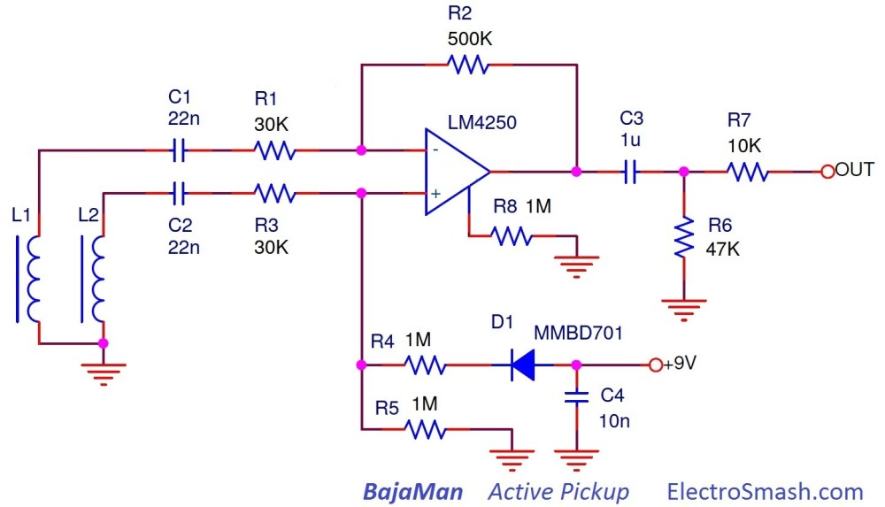 medium resolution of  bajaman active pickup schematic