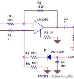 the emg81 active pickup circuit is a simple differential amplifier emg81 circuit schematic [ 1453 x 835 Pixel ]