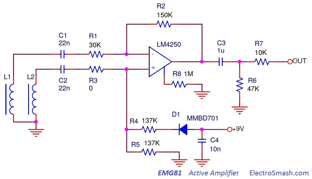 medium resolution of the emg81 active pickup circuit is a simple differential amplifier emg81 circuit schematic