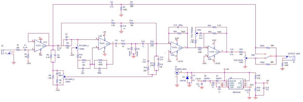 medium resolution of the klon centaur schematic could be broken down into 5 parts input stage op amp gain stage summing stage tone control output stage and power supply