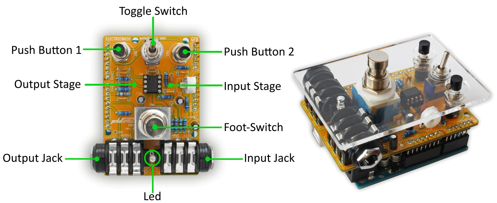 hight resolution of pedalshield uno arduino guitar pedal