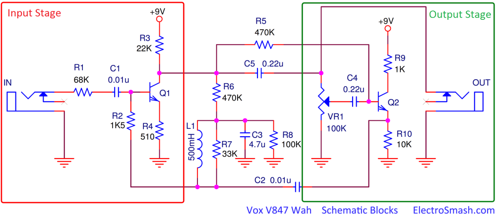 medium resolution of electrosmash vox v847 analysis vox wah pedal wiring diagram the vox v847 circuit