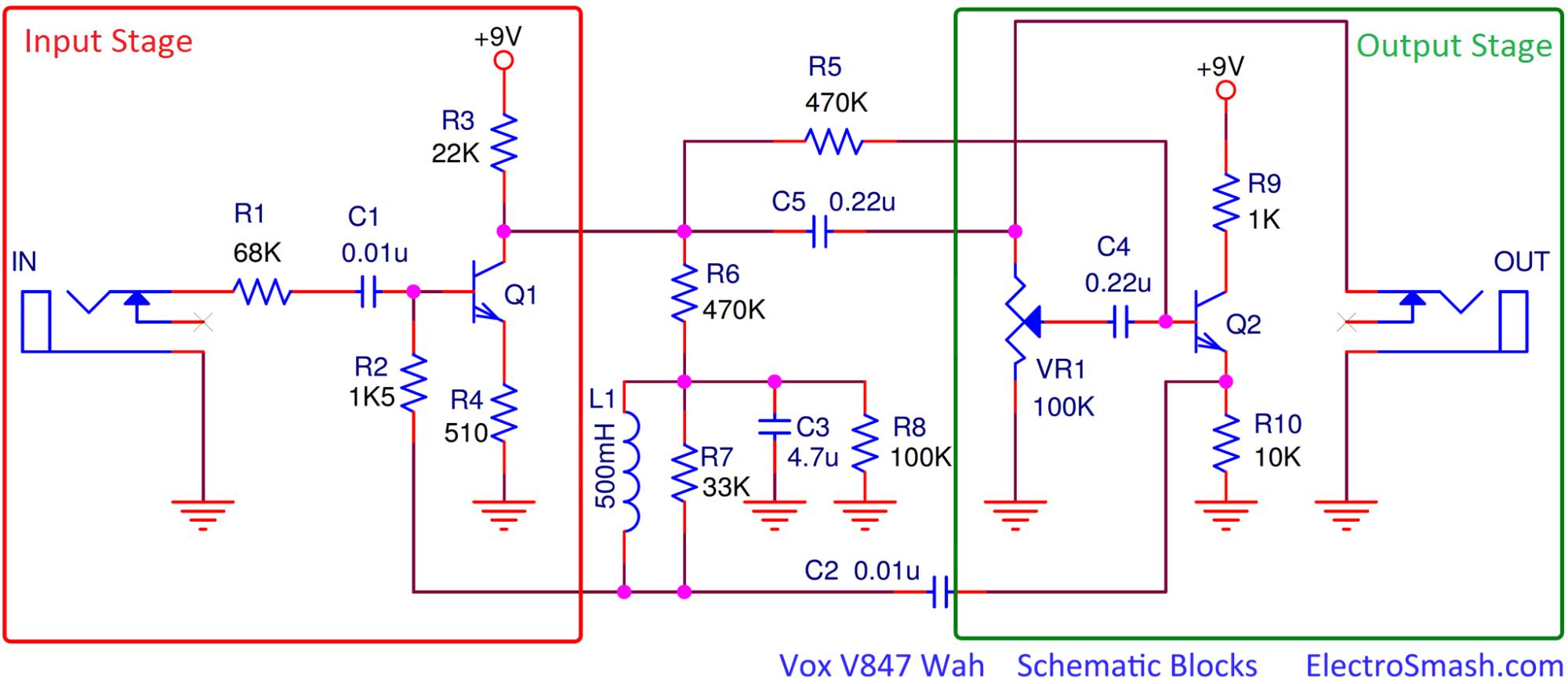 hight resolution of electrosmash vox v847 analysis vox wah pedal wiring diagram the vox v847 circuit