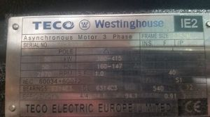 TECO WESTINGHOUSE 90KW 120HP 2970RPM 3 PHASE MOTOR | Electrotech Drives