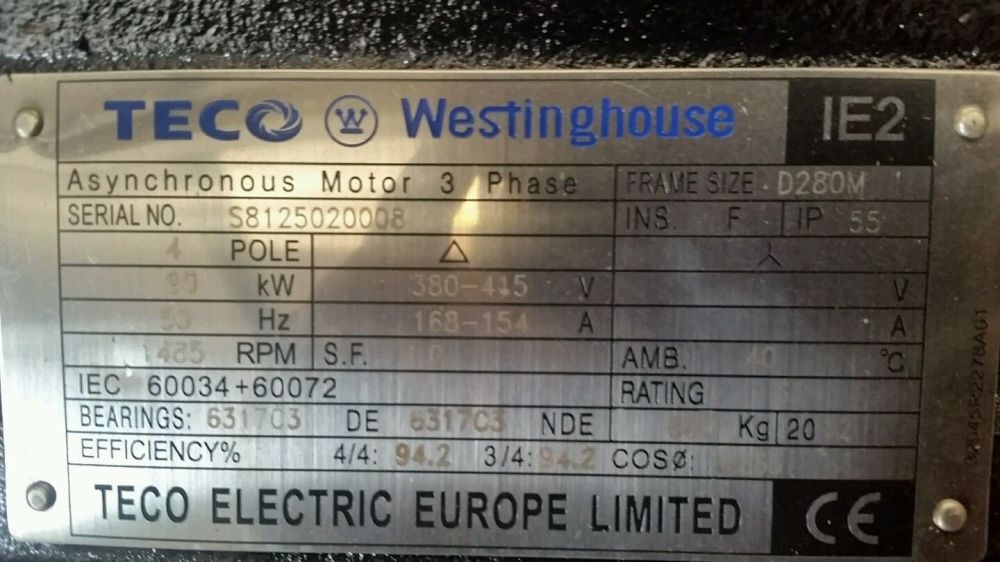 medium resolution of teco westinghouse 90kw 3 phase electric motor 1500rpm 4 pole