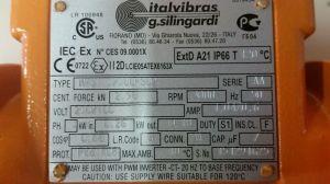 VIBTEC VIBRATOR MOTOR MVSI3300S02 3 PHASE 026KW 3000RPM VIBRATECHNIQUES   Electrotech Drives