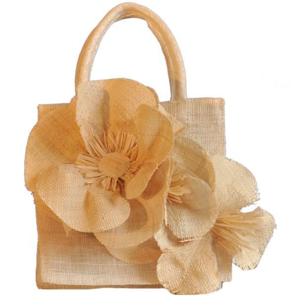 Sinamay Bag With Raffia Flowers Races Hats Wedding Hat