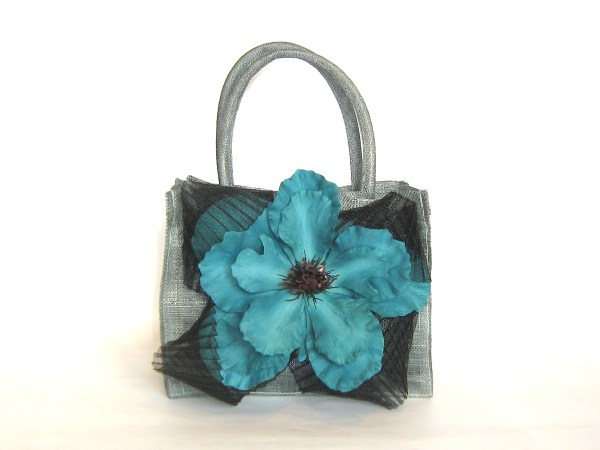 Handmade Sinamay Bag With Unique Floral Trim Races Hats