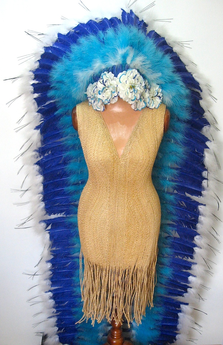 Indian Feather Headdress In Blue And White Races Hats