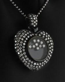 Κολιέ καρδιά λευκόχρυση Κ18 με Διαμάντια