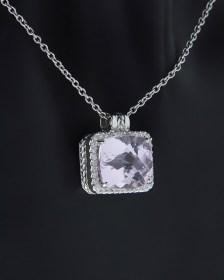 Κολιέ λευκόχρυσο Κ18 με Διαμάντια & Μοργκανίτη