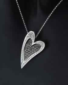 Κολιέ καρδιά λευκόχρυσο Κ18 με Διαμάντια