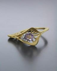 Χειροποίητο Δαχτυλίδι χρυσό Κ14 με Αμέθυστο & Ζιργκόν