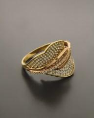 Δαχτυλίδι χρυσό & ροζ χρυσό Κ14 με ζιργκόν