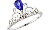 Δαχτυλίδι στέμμα λευκόχρυσο Κ18 με Διαμάντια & Ζαφείρι