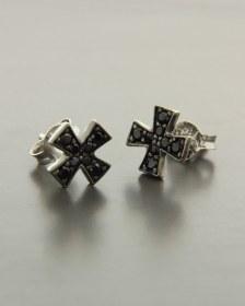 Σκουλαρίκια σταυροί λευκόχρυσα Κ14 με Ζιργκόν