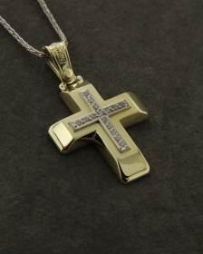 """Σταυρός """"Τριάντος"""" χρυσός Κ14 με Ζιργκόν"""