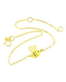 βραχιόλι χρυσό Κ14 μέλισσα με ροζ, λευκό και μάυρο Σμάλτο