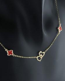 Κολιέ καρδιά και σταυροί χρυσοί Κ14