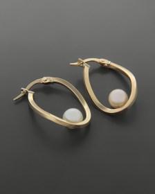 Σκουλαρίκια κρίκοι χρυσά Κ14 με πέρλα