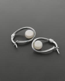 Σκουλαρίκια κρίκοι λευκόχρυσα Κ9 με πέρλα