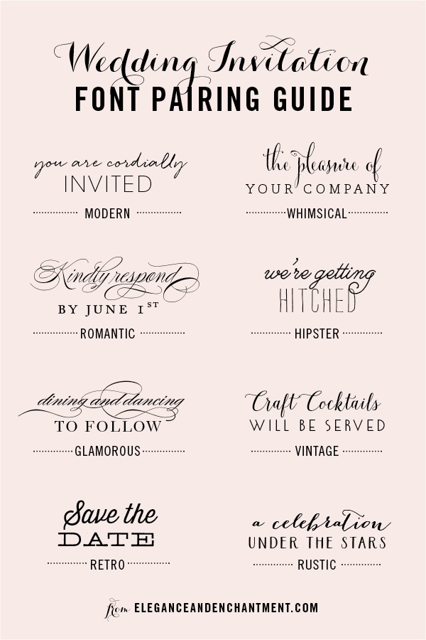 Wedding Invitation Font And Pairing Guide From Elegance Enchantment Great Binations Of Script