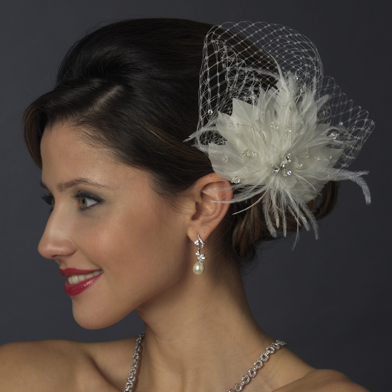 Rhinestone Bridal Feather Fascinator Elegant Bridal Hair