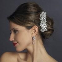 rhinestone wedding hair barrettes silver swarovski crystal ...