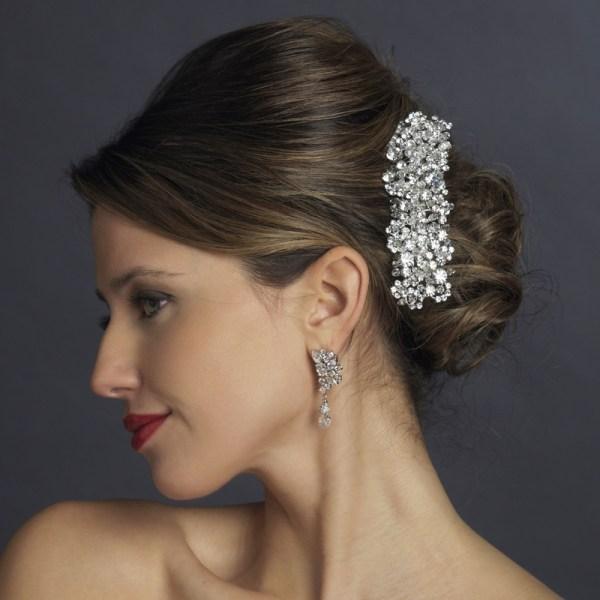 Silver Swarovski Crystal & Rhinestone Barrette - Elegant