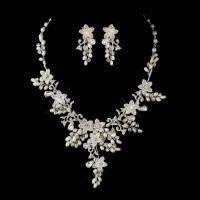 Glamorous Pearl & Rhinestone Floral Bridal Jewelry Sets ...