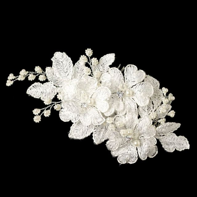 silverbloom lace bridal comb
