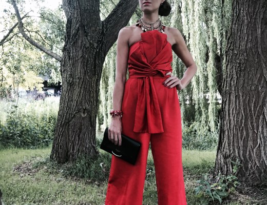 Bow Jumpsuit and Statement Necklace