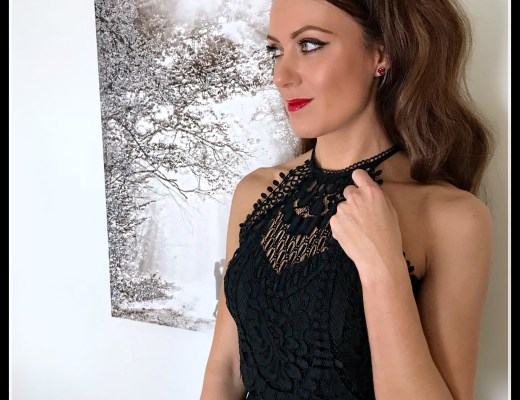 NYE inspiration   Lipsy VIP Feather Hem Lace Midi Dress   Public Desire Mayfair Pearl Detail Courts Heels   Coast Nadine Velvet Eyelet Bag