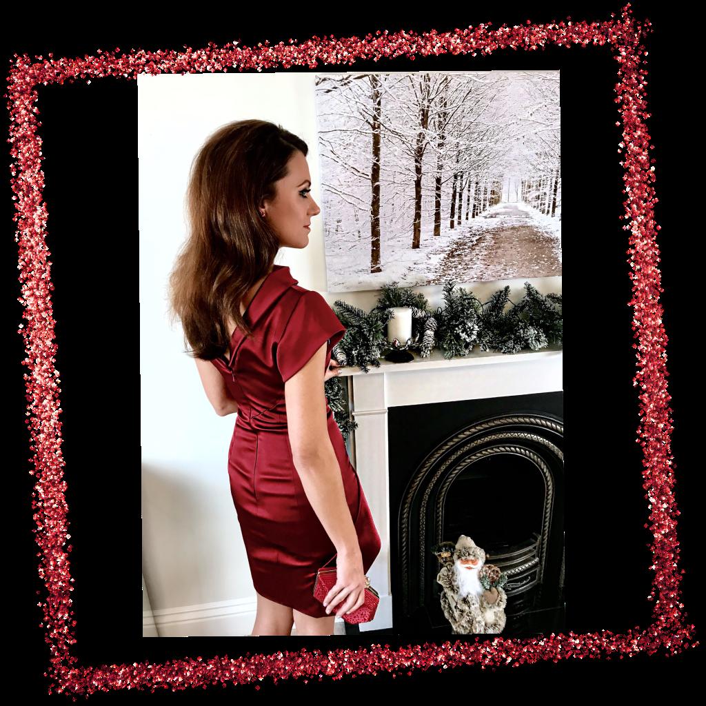 Karen Millen Red Satin Drape Dress | Karen Millen Red Velvet Shoe | Elegant Duchess Fashion Blog